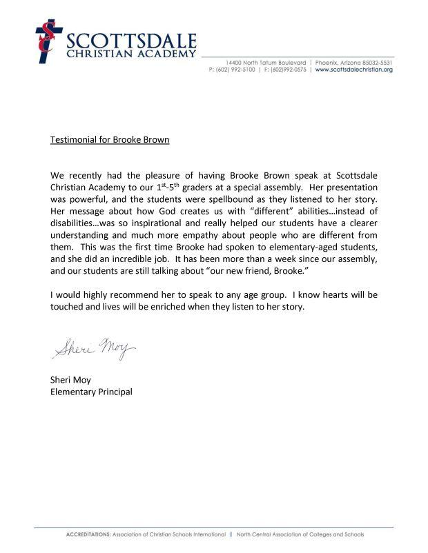 Testimonial for Brooke Brown